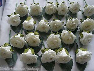 Wedding Flowers - 15 Rose & Diamante Buttonhole Corsage Groom Guest Best Man