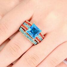 Princess Cut Aquamarine Yellow Gold Filled Ring Set Wedding Engagement Band SZ 7