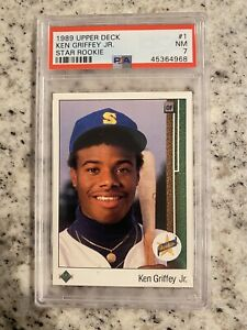 PSA 7 NEAR MINT 1989 UPPER DECK KEN GRIFFEY JR #1 FRESHLY GRADED CARD HOF