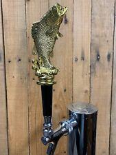 Largemouth Bass Fishing Trophy Tap Handle Beer Keg Fisherman Hunter Gold Plastic
