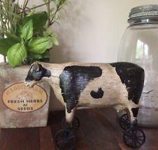 Primitive Distressed Pull Toy Farm Dairy Milk Cow On Wheels Shelf Sitter