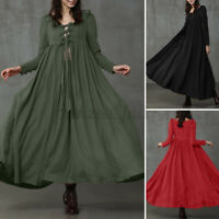 Women A-Line Flare Swing Long Maxi Dress Gown Tie Front Kimono Dresses Plus Size