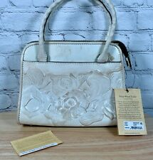 Patricia Nash Paris Satchel White Waxed Tooled Collection NWT $229