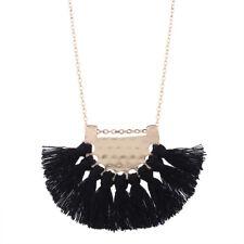 New Gold Plated Black Tassel Fringe Fan Long Chain Statement Necklace