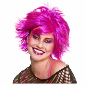 80s Pink Wig Ladies 1980s Retro Disco Themed Fancy Dress Wig Spikey Punk Wig