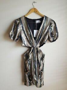 Misha Collection Lorlea Sequin Mini Dress Multi Stripe Size 10 AU - RRP $480
