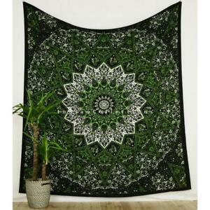 Green Star Mandala Tapestry Wall Hanging Queen Size Bedspread Bohemian Hippie