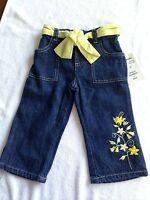NWT  B.T. kids toddler 2T blue denim jeans pants belt floral NEW 24 months