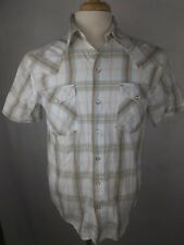 Arizona Tan & White Western Plaid  Boy's Pearl Snap Casual Shirt Size Large