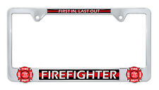 RESCUE PARAMEDIC BLUE METAL LICENSE PLATE FRAME TAG BORDER FIRE