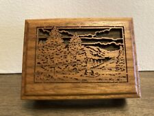 Miniature Music Box Wood Carved Plays 'Evergreen'