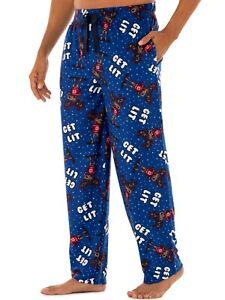Fruit of the Loom Get Lit Reindeer Christmas Fleece Sleep Pajama Pants Men M-5XL