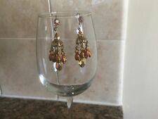 Vintage Chandelier Earrings ~  Faux-Pearl, Goldtone, Hanging Pierced
