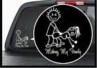1 x car sticker my family sheet motorbike bike auto badge window white decal new