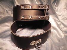 Handmade Black & White leather thigh cuffs TC82 Bondage fetish