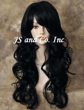 Human Hair Blend in Black Heat Safe Long Wavy wig Flat Iron OK wty 1B