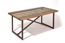 Colori tavolo 160x90x76h top legno massello struttura metallo eff.etnico vintage