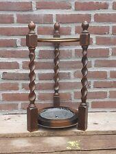 Antique Oak Barley Twist Umbrella Cane Stick Stand Hall