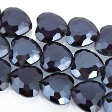 22mm Heart Beads Crystal AMETHYST PURPLE, 14 beads, bgl1643