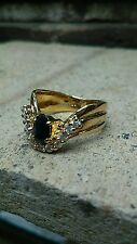 Estate Solid Sterling Silver Gold Vermeil Sapphire Ring Size 6.25 AND 4.0 GRAMS