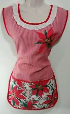 Vintage Christmas Red Poinsettias Apron With Pockets And Side Ties Retro