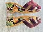 Vintage++Hand+Carved++Polynesian+Tiki+Wedge+Shoes