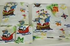 COMPANY KIDS PIRATES BOAT Queen Sheet Set Flat, Fitted, 2 Pillow Cases New