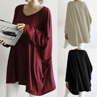 Women's Long Batwing Sleeve Casual Shirt Tops Round Neck Loose Oversize Blouse