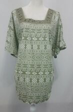 French Laundry SS Embellished Neck Side/Back Ruched Green Geometric 18/20
