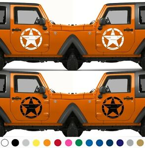 Set of 2 Tattered Distressed US Army Star Decal Door Vinyl Sticker V16