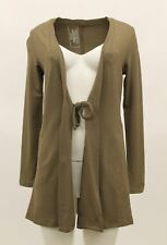 FLAX IN MOTION JERSEY TIE CARDIGAN JACKET COVER UP SHITAKE BROWN MEDIUM