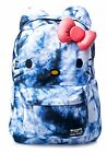 NWT Loungefly X Hello Kitty Blue Tie Dyed Backpack with Ears & Pink Plush 3D Bow