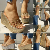 Fashion Women Wedge High Heels Platform Peep Toe Summer Slippers Sandals Shoes