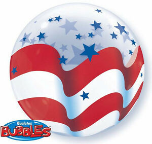 """AMERICAN FLAG BALLOON 22"""" INDEPENDENCE DAY SEE THRU QUALATEX BUBBLE BALLOON"""