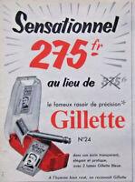 PUBLICITÉ DE PRESSE 1954 SENSATIONNEL LE RASOIR DE PRECISION GILLETTE
