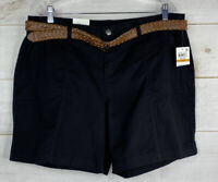 Style & Co Mid Rise Belted Cargo Shorts Plus Sz 16W Deep Black Stretch NWT