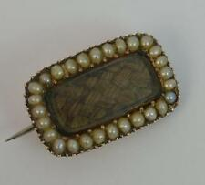 Georgian 9ct Rose Gold and Pearl Mourning Brooch t0907