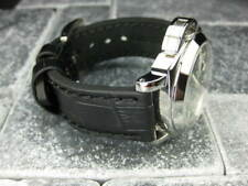 22mm BIG CROCO Leather Strap Black Thick Watch Band Belt Black for PANERAI