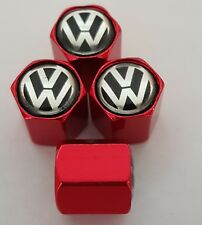 VW VOLKSWAGEN tyre Valve Dust Caps Alloy for all Models red T6 T5 T4 Beetle Polo