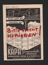 VACHA, Werbung 1937, Kabelwerk Vacha AG KAPA Antenne
