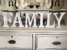 """LARGE SHABBY CHIC VINTAGE WHITE WOODEN LETTERS """"FAMILY"""" GIFT SIGN 14.5CM HIGH"""