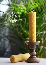 2 x 100% PURE BEESWAX PILLAR candles. 20cm x 5.5cm ~ Eco-Friendly