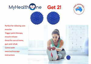 x2 Firm Spikey Therapy Balls 9.5 cm.Blue Shipped from AUS