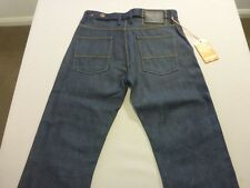 087 MENS NWT SUPERDRY 'GAS' STR8 DK BLUE GRAIN JEANS SZE 29 / 34 L $150 RRP.