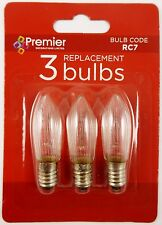Premier RC7 3 X Spare Replacement Christmas Candlebridge Light Bulb Clear New