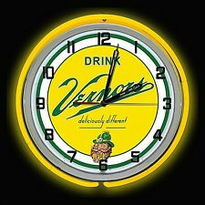"19"" VERNORS Deliciously Different Ginger Ale Sign Yellow Double Neon Clock"