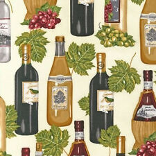 BY YARD-Vineyard Collection Wine Bottle Fabric Robert Kaufman 13567-15 Ivory