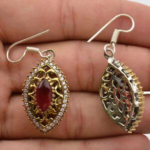 ThanksGiving Jewelry Ruby Gemstone Dangle Earrings 925 Sterling Silver SRL019287