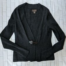 Fenn Wright Manson womens sweater medium gray 100% merino wool cardigan buckle