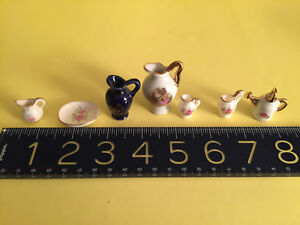 Vintage miniature FINE Limoges watering can, pitcher + other miniature porcelain